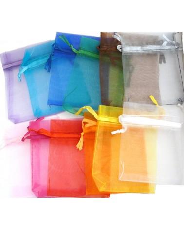 Petit sac en organza 70x90mm multicolores x10