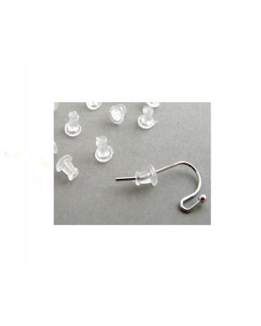 Poussoirs pour crochets d'oreilles 5x5mm transparent X 25