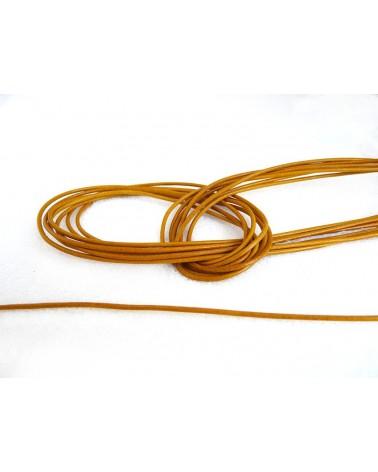 Cordon cuir Jaune d'or 1.3 - 1.5mm x 105cm x1