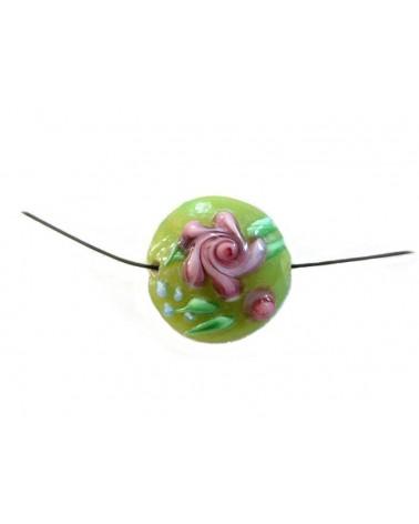 Palet verre au chalumeau 19mm fleuri rose et vert