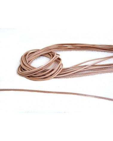 Cordon cuir naturel 1.3 - 1.5mm x 105cm x1