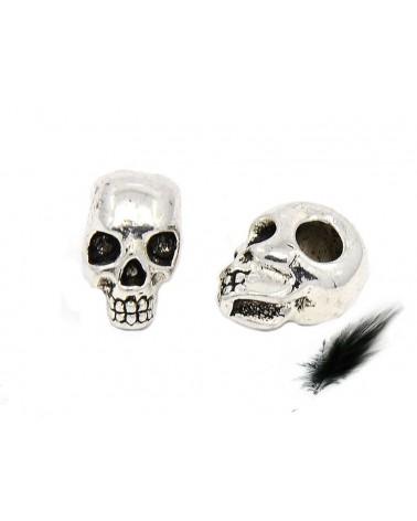 Crâne 13x8mm argenté vieilli x1