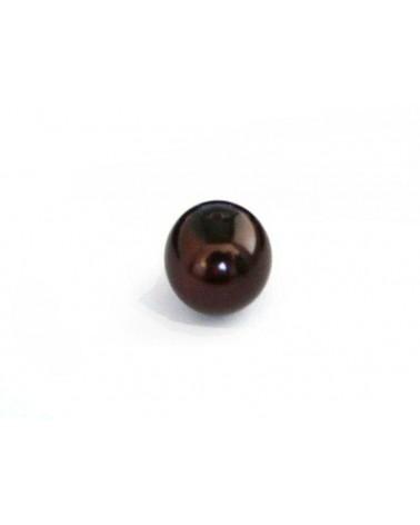 Ronde 10mm en verre nacré marron foncéx 10