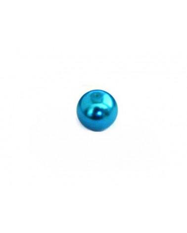 Ronde 10mm en verre nacré bleu turquoise x 10