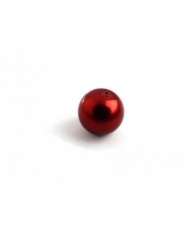 Ronde 10mm en verre nacré rouge x 10