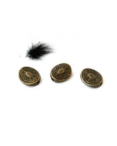 ovales décorés 11x9mm bronze X 10
