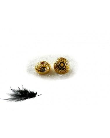 Perle  métal décorée 10 x 6mm DORE  x 1 ou par 15