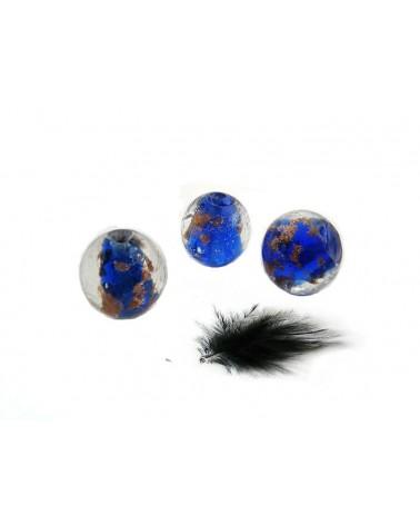 ronde marine verre au chalumeau et sable or 12mm x 1