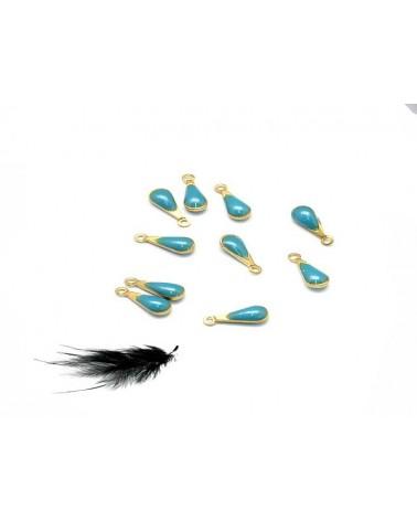Breloque goutte bleu turquoise et bronze x1
