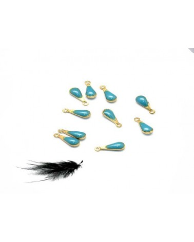 Breloque goutte 11mm bleu turquoise x1