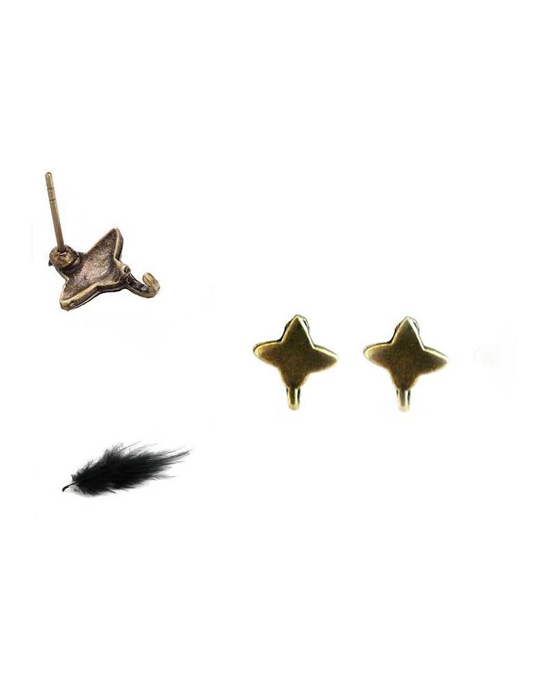 Clou d'oreilles étoiles bronze  X 2