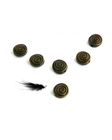 """Lentille 8x4mm """"spirale"""" bronze X 10"""