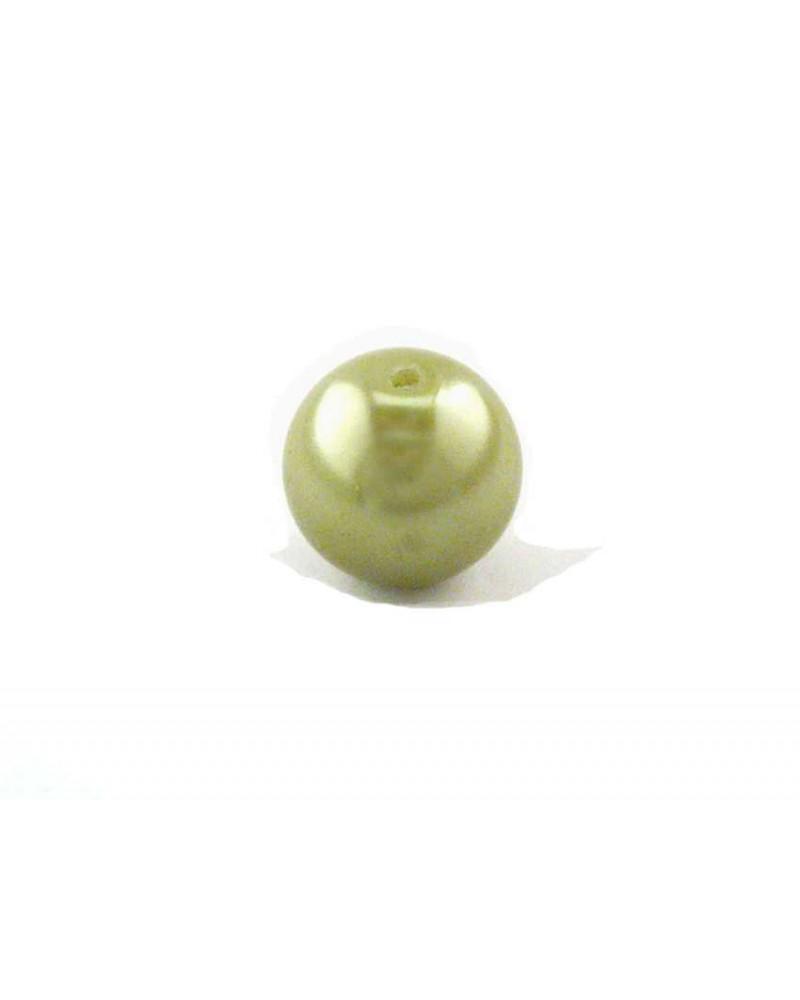 Ronde 10mm verre vert tilleul x 10