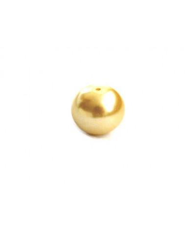 Ronde 10mm en verre nacré jaune paille x 10