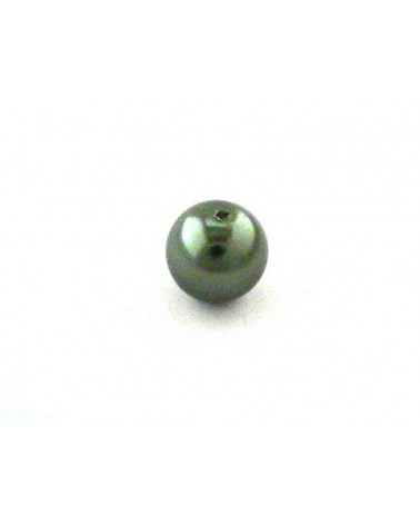 Ronde 10mm en verre nacré vert bouteille x 10