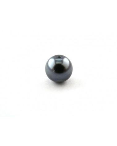 Ronde 10mm en verre nacré gris bleu x 10