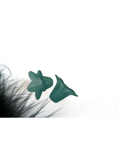 Fleur acrylique 15x12mm vert X 4