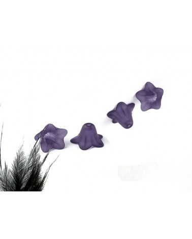 Fleur acrylique 16x12mm violet X 4