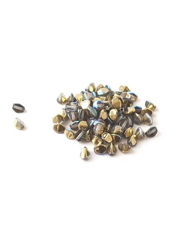 Pinch beads crystal golden rainbow x 50