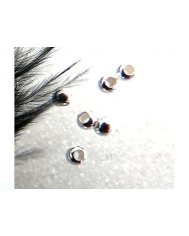 Perles à écraser 2mm platine(0.8mm) x 100