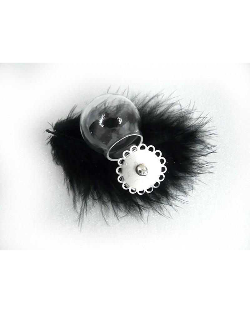 """Globe """"Le dodu"""" 30mm en verre à suspendre capuchon- c Argent X1"""