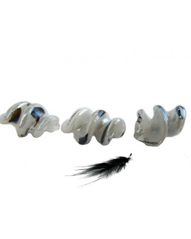 Spirale lampwork 26mm blanc AB X 1