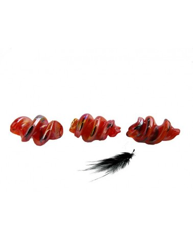 Spirale lampwork 26mm rouge AB X 1