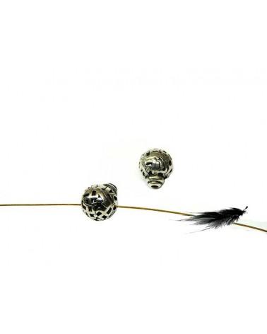 Perle de mala 3 trous 10mm argenté X 1