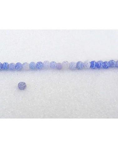 Agate dépolie 4mm Bleu blanc X 20