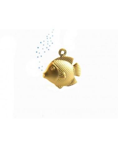 Breloque poisson 18x18mm doré satiné X1