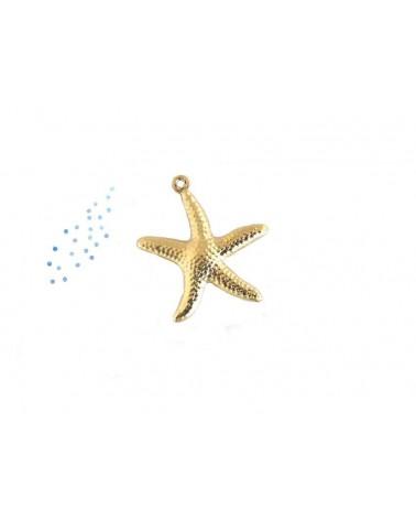 Breloque étoile de mer 22mm doré satiné X1