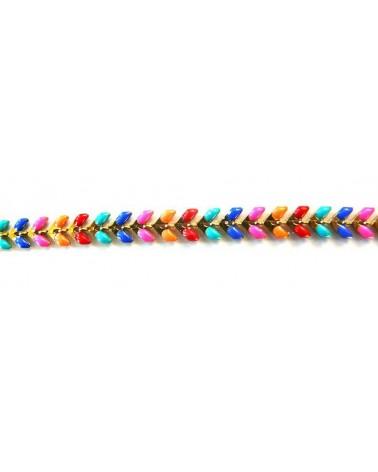 Chaîne épi émaillée multicolore vive doré A X 0.20m