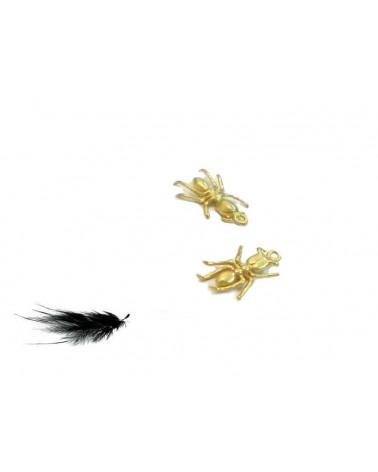 Breloque fourmi 13mm doré satiné X1