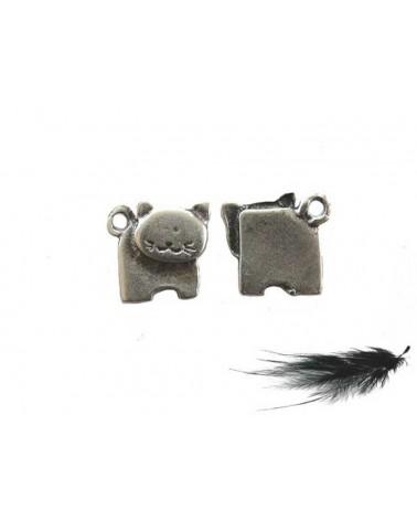 Breloque chat 15mm argenté X1