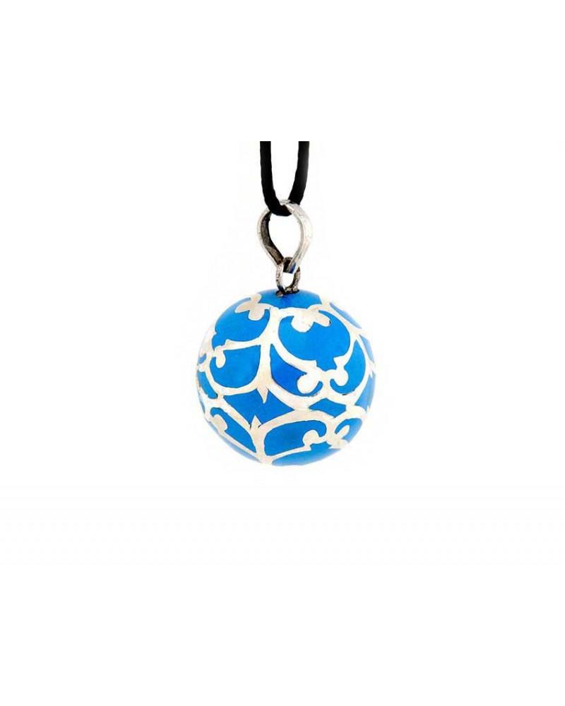 Bola de Grossesse NUNKI Bleu 22mm en Argent Sterling 925 avec son cordon réglable