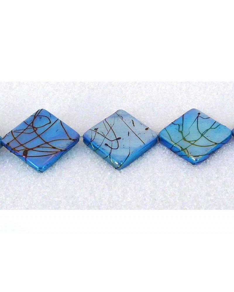 Losange nacré bleu AB 15 X 15mm x 5 ou 1 rang