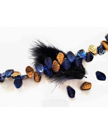 Feuille verre 15x10mm bleu cobalt bronze