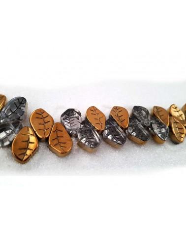 Feuille 15x10mm crystal argent- bronze doré X 15