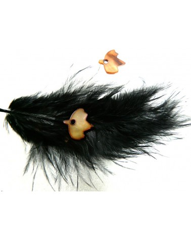 oiseau de nacre  Marron caramel 13x14mm x 2