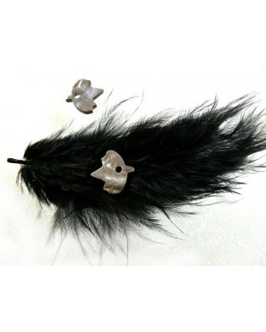 Oiseau de nacre  Gris-noir 13x14mm x 1