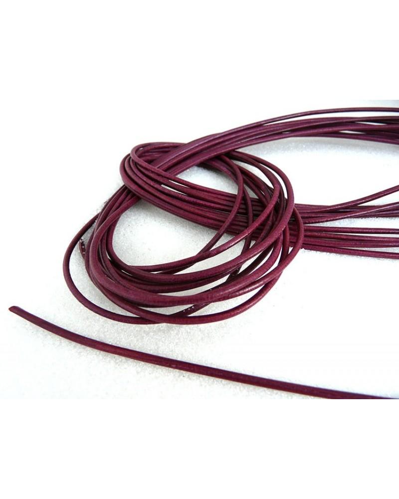 Cordon cuir de Vachette Rose framboise 2mm x 105 cm x1