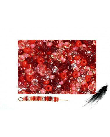 Rocaille 2,3mm mélange FRUITS ROUGES x 10g