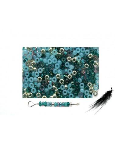 Rocaille 2,3mm mélange EMERAUDE x 10g