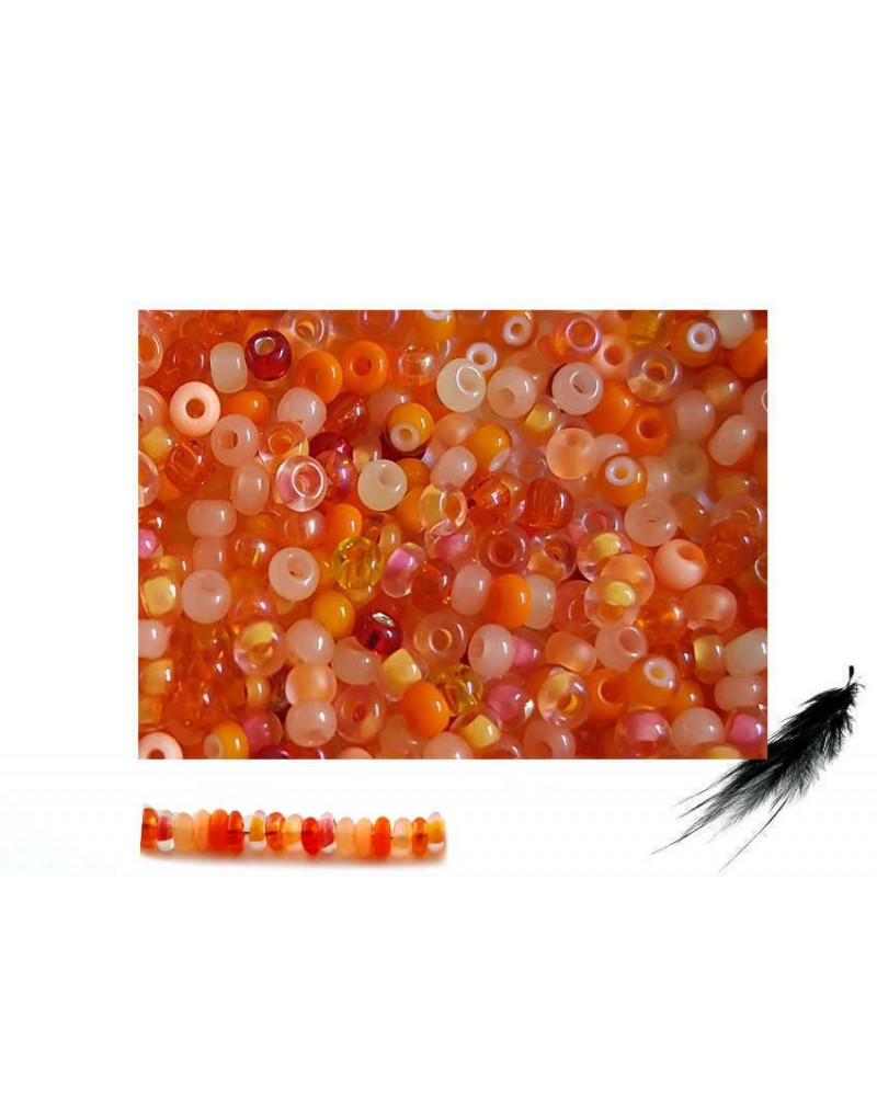 Rocaille 2,3mm mélange CORAIL orange x 10g