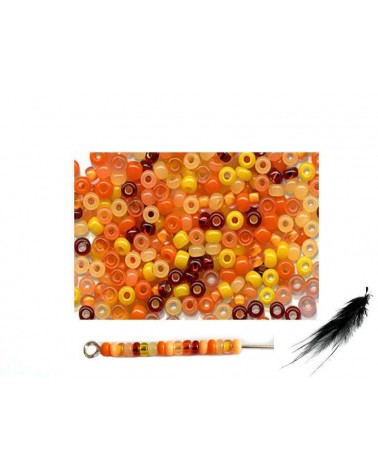 Rocaille 2,3mm mix jaune orange  x 10g