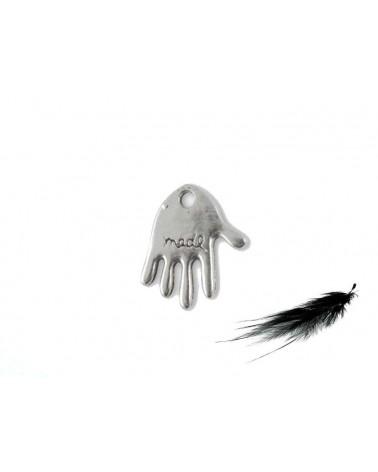 Breloque main 12mm argenté X 1