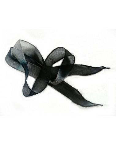 Ruban pure soie teint à la main Bleu gris noir environ 90cm