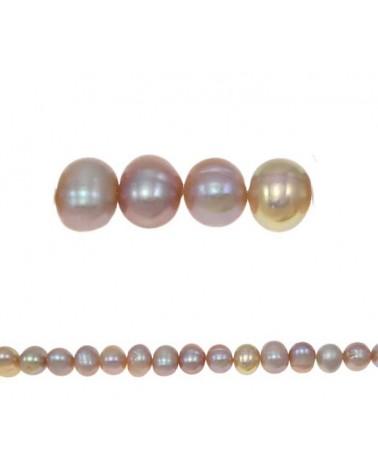 Perles d'eau douce rondes 6-7mm Rose  X 4