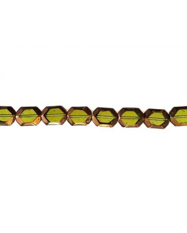Hexagone vitrail 11x14mm anis