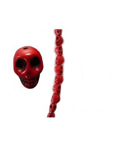 Mini tête de mort Howlite rouge